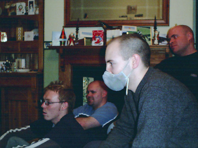 Christmas 2003 with friends wearing carbon filter mask
