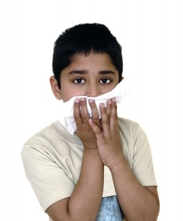 Young boy suffering from hayfever