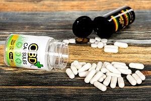 CBD Oil Capsules on a Table