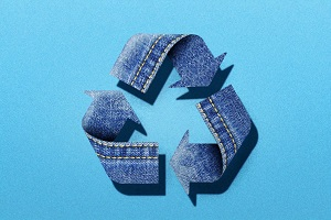 Recycle Sign in Blue Denim