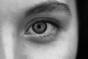 Close up eye in black and white