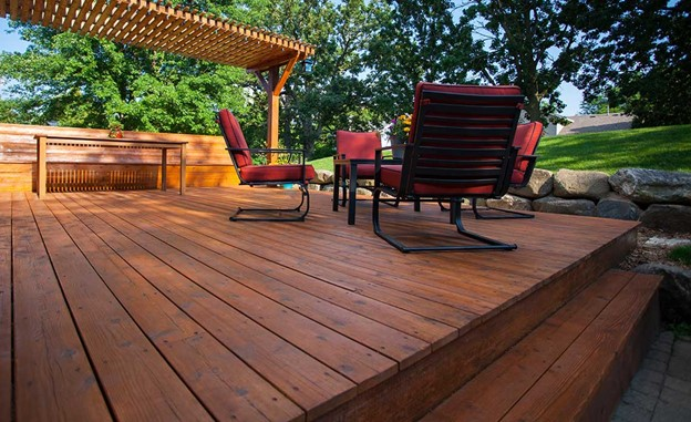 Large Garden Decking After Wood Stain Treatment