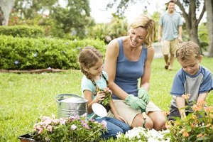 A family gardening safely