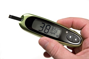 Blood Glucose Meter Showing Hypoglycemia (Low Blood Sugar)