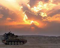 Tank Set Against Desert Sunset