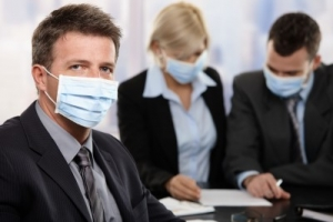 Business people wearing MCS face masks