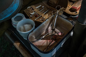 Old fashioned medical instruments and dressings