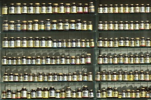 Shelf stacked with nutritional supplements