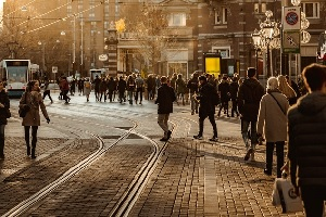 Pedestrian zone in a busy city