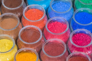 Selection of colorful contract powder fillings
