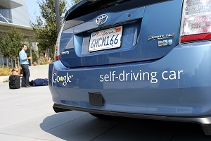 Driverless car in testing
