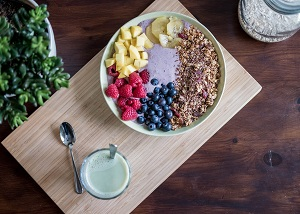 Bowl of berries and other superfoods