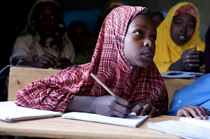 Young women in school in a developing nation